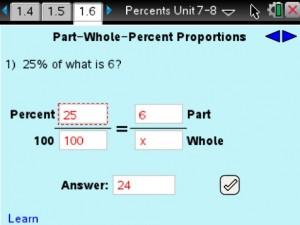 Lesson 6 - Part-Whole-Percent Proportions
