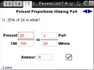 Lesson 5 - Percent Proportions Missing Part